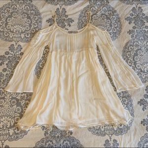 Cream colored off-the-shoulder Boho dress